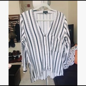 Topshop Hi Lo Stripe Top